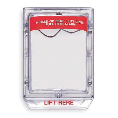 SAFETY T Polycarbonate Pull Station Guard,Surface,3-3/16inD, STI-1200, Red/Clear