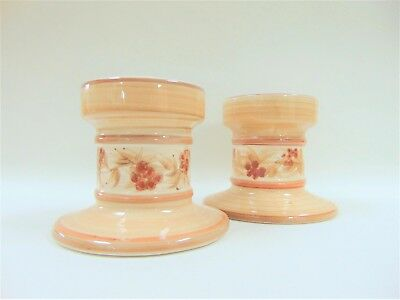 Jersey Pottery Candle Holders Pair Floral Motif Ceramics British Studio Pottery