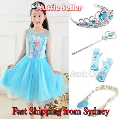 Girls Frozen Princess Queen Elsa Costume Party Birthday Dress with Cape 1-7 Yrs