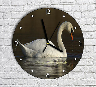 Swimming White Swan In The Lake - Round Wall Clock For Home Office Decor
