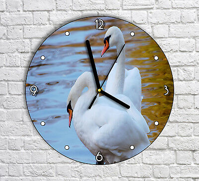 Two Swans In The Lake - Round Wall Clock For Home Office Decor