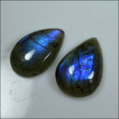 LABRADORITE CABOCHON 42.5CT NATURAL BEAUTY BLUE FLASH PEAR 2Pc GEMSTONES AC04-54