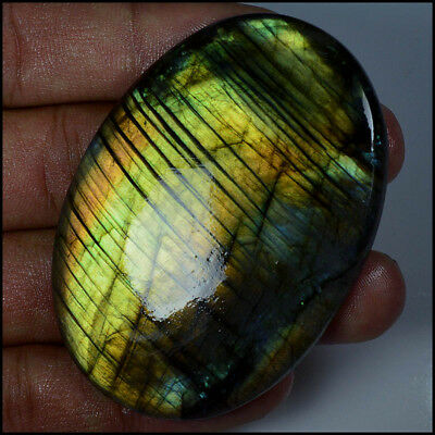 LABRADORITE CABOCHON 181.5Ct HUGE NATURAL LINE MUTLI FLASH OVAL GEMSTONE AC08-79