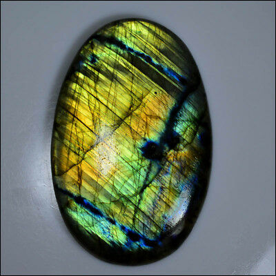 LABRADORITE CABOCHON 290 Cts HUGE NATURAL NICE MULTI FIRE OVAL GEMSTONE AC05-33