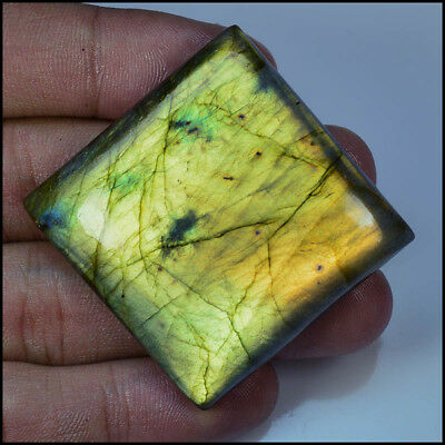 LABRADORITE CABOCHON 150.50 Cts NATURAL GOLDEN FLASHY SQUARE GEMSTONES AC18-73