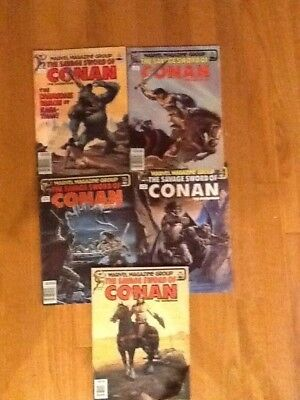 The Savage Sword Of Conan Barbarian Marvel Comics - Lot Of 5 - 1982-3