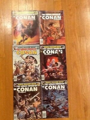 The Savage Sword Of Conan Barbarian Marvel Comics - Lot Of 6 -1983