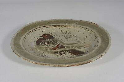 French Vintage Studio Pottery Charger - Rare Pigeon Design