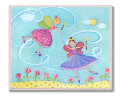 The Kids Room by Stupell Two Fairies Dancing Rectangle Wall Plaque