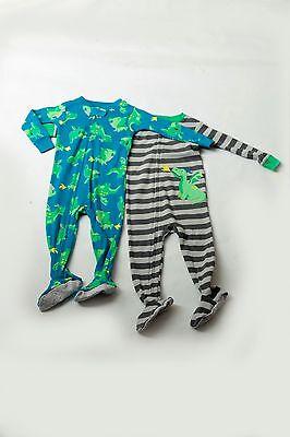 NWT**12 Month Carter's just one you Lot of 2 sleepers Dinosaur Dragon MSR 16.00