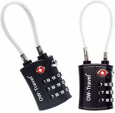 ✅TITAN 3 Dial TSA Approved Cable Padlock Number Combination Travel Luggage Lock