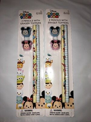 Disney Set Of TWO  Tsum Tsum Pencils W/ Mickey & Minnie Eraser Tops New