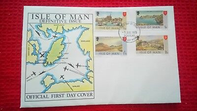 Isle of Man FDC 1973 - Definitive issues x 4 stamps