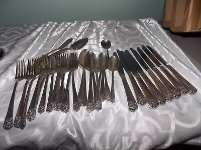 94 Pc. Vintage Lot of Silver Plate Silverware,Mixed Patterns,Mixed Pieces