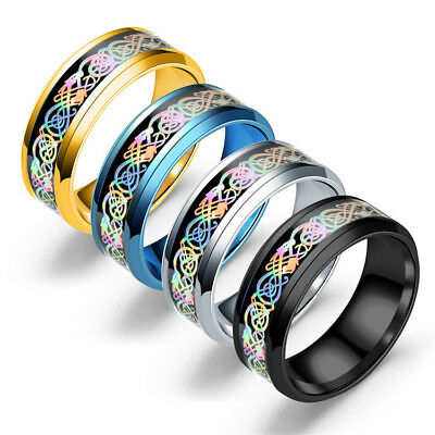 Men Women Dragon Punk Glow In The Dark Colorfuls Band Ring Stainless Steel New