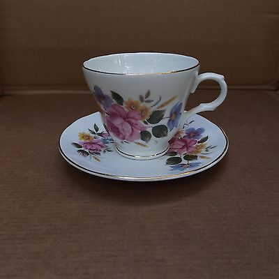 Crown Trent Fine Bone China Cup & Saucer – Staffordshire – Multi Color Floral