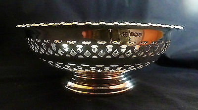 Sterling Silver Ornate Pierced Work Footed Bowl by James Deakin & Sons 1931
