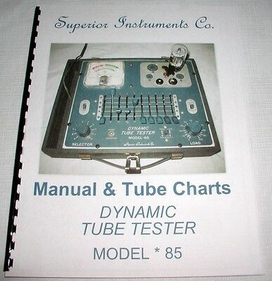 Manual & Test Setup Chart for Superior Instruments Co. SICO Model 85 Tube Tester