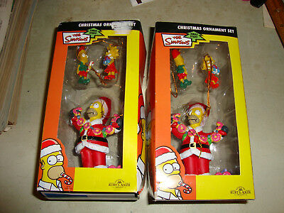 2 - 2009 Simpsons Christmas Ornaments 3 piece set New Old Stock