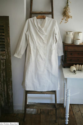 Vintage French cotton APRON double breasted WORK WEAR c1950