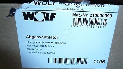 Wolf Abgasventilator 210000099 Lüfter 2100000 GG-18 / 24 kW Therme 8602545