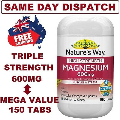Nature's Way High Strength MAGNESIUM 600mg 150 Tablets with Vit D3 FREE SHIPPING
