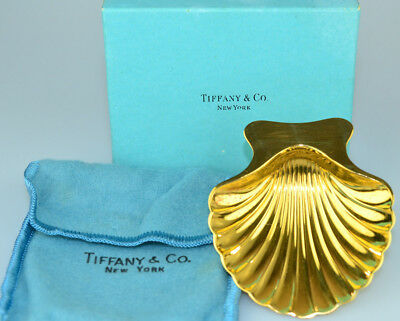 Vtg Tiffany Sterling Silver Gold Vermeil Scallop Shell Nut Mint Dish Pouch & Box