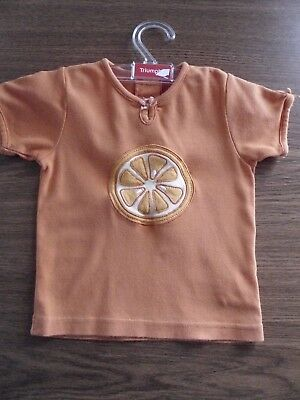 H&M Baby T-Shirt Orange Applikation Schleifen Gr.80 England
