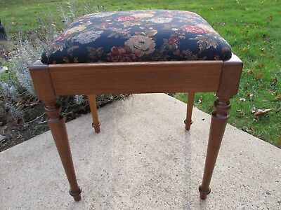 Antique Walnut Stool / Vanity / Sewing Machine Bench (Blue) Restored