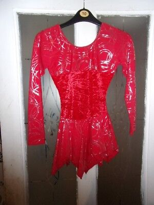ice skating dress red sparkling