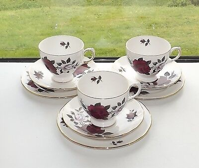 Vintage Colclough English Bone China Amoretta Rose 3 x Cups Saucers plates