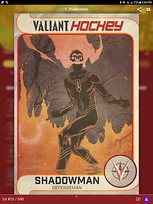 Shadowman card for Quidd app Valiant Hockey LOW #15/500 Valiant Comics