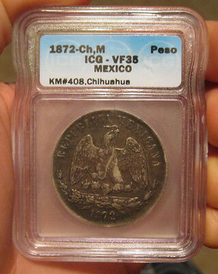 Mexico - 1872 ChM Large Silver Peso (ICG VF 35) - Scarce!