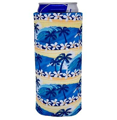 Waves Tropical Neoprene Collapsible Slim 12 oz Can Coolie, fits Michelob Ultra