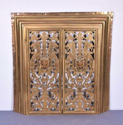 *Vintage French Bronze Fireplace Surround/Insert with Doors and Lions