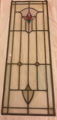 Antique  vintage Leaded Stained Glass Panel TULIP