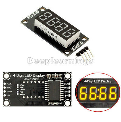 "Yellow 0.56"" inch TM1637 4-Bits Digital LED Clock Tube Display for Arduino DP"
