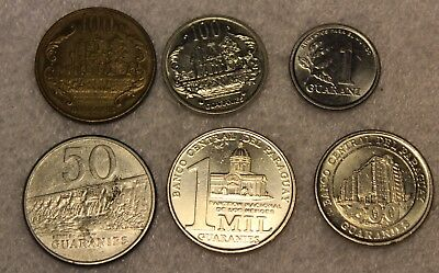 set of 6  different coins from Paraguay