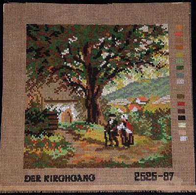 Monika Design Printed Tapestry Needlepoint Canvas The Church Tour Scenic