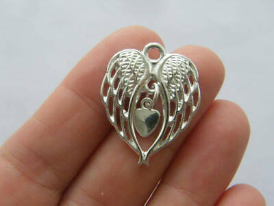 BULK 20 Angel wing heart charms silver plated tone AW74