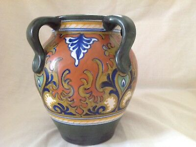 """Gouda Pottery Hand Painted Four Handled 7.5"""" Vase"""