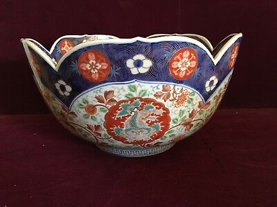 Beautiful Large 19C Japanese Kutani Bowl 24K Design Scalloped Edge Foo Dogs