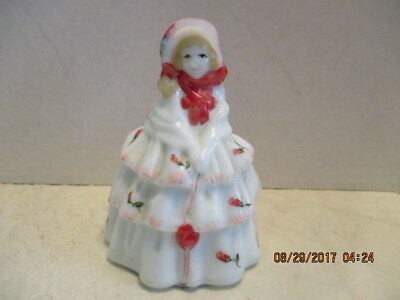 """1982 Boyd's Art Glass """"Louise"""" White Hand Painted Signed Glass Doll Figurine"""