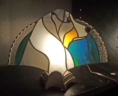 Stained Glass Dog Fan Lamp - Australian Shepherd - Blu Merle