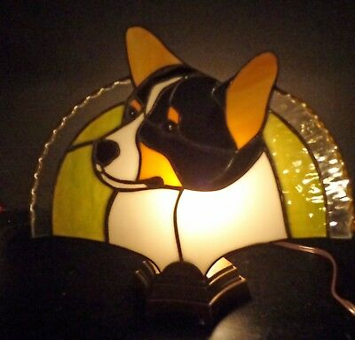 Stained Glass Dog Fan Lamp - Pembroke Corgi - Black Tri