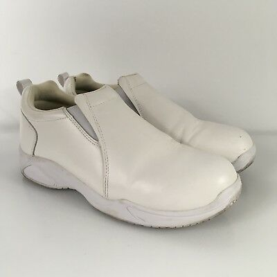 Standing Comfort Size 8.5 White Leather Nurse Slip Resistant Slip On Shoes
