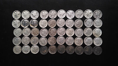 $5.00 Roll SILVER Mercury & Roosevelt Dimes 90% Silver ** FREE SHIPPING