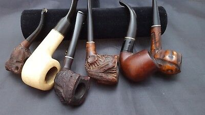 vintage tobacco pipe lot estate carved 6 smoking pre-owned