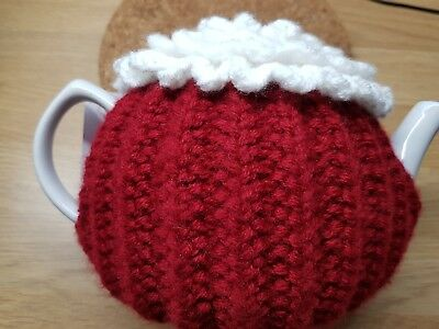 Handmade Knitted & Crochet Tea Cosy Red With White Flower 34 Cm By 11 Cm