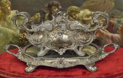 Sublime Antique French Planter / Jardiniere & Mirrored Tray Set, Rose Garlands
